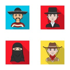 A mexican, a jew, a woman from the middle east, an american. The human race set collection icons in flat style vector symbol stock illustration web.