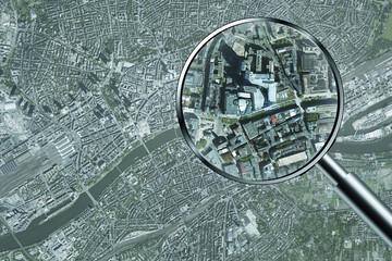 Luftbild Spionage Überwachung Beobachtung Frankfurt