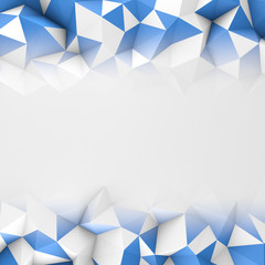 Border frame with blue low poly surface abstract 3D render