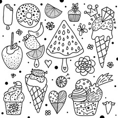 Summer coloring page. Sweets.