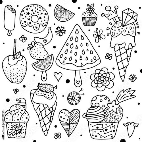 """""""Summer coloring page. Sweets."""" Stock image and royalty ..."""