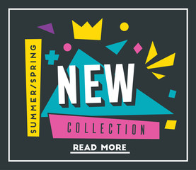 New collection banner. Bright and retro style. Cartoon vector illustration.
