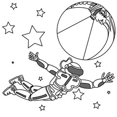 spaceman looking to infinity on crescent moon.
