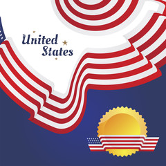 Banner with merican flag of beautiful shape on the emblem. Flat vector illustration EPS 10 Flat vector illustration EPS 10