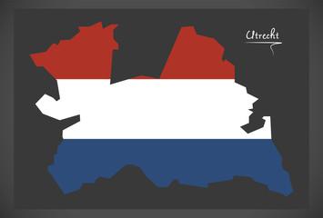 Utrecht Netherlands map with Dutch national flag illustration