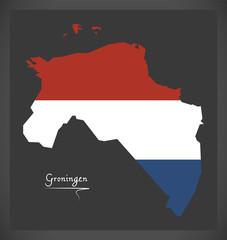 Groningen Netherlands map with Dutch national flag illustration