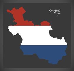 Overijssel Netherlands map with Dutch national flag illustration