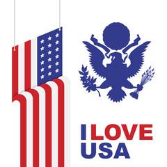 American flag of beautiful shape. Flat vector illustration EPS 10
