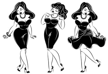set of black and white pin-up sexy woman, hand drawn vector illustration