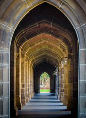 A stone arch hallway at a university with a tree in the distance