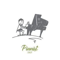 Pianist concept. Hand drawn handsome young man making piano music. Male musician plays the piano isolated vector illustration.