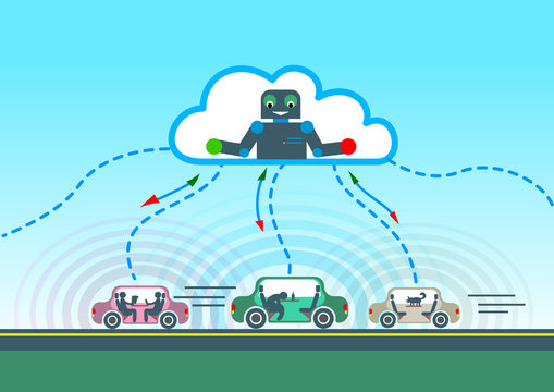 autonomous car driving on road and sensing systems. artificial intelligence