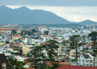 Panoramic view of the Vietnamese town in the mountains.