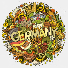 Cartoon cute doodles hand drawn Germany inscription