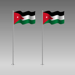 Jordan flag on the flagpole. Official colors and proportion correctly. High detailed vector illustration. 3d and isometry. EPS10