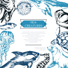 Sea Creatures - color vintage postcard template.