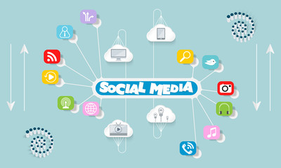 Info graphic with theme of social media and icons