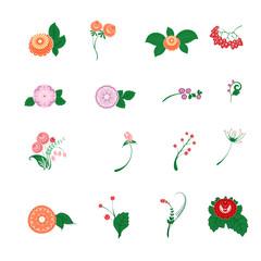 Floral pattern decor element set. Ornamental elements over white background. Slavic folk traditional native floral ornament. Vector illustration, decoration, design stylized painted element