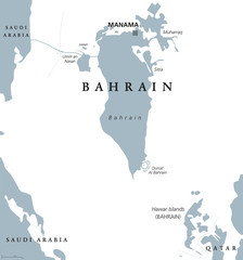 Bahrain political map with capital Manama. Kingdom in the Arabian Gulf. Island country and archipelago between Qatar and Saudi Arabia. Gray illustration on white background. English labeling. Vector.