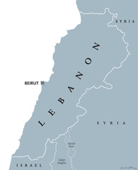 Lebanon political map with capital Beirut. Lebanese Republic, state in Western Asia at Mediterranean Sea, bordered by Syria and Israel. Gray illustration on white background. English labeling. Vector.