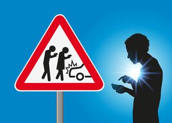 smartphone - panneau - danger - accident - téléphone portable - signalisation