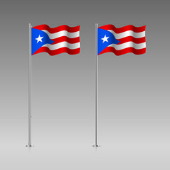 Puerto Rico flag on the flagpole. Official colors and proportion correctly. High detailed vector illustration. 3d and isometry. EPS10