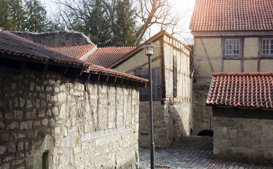 closeup of old medieval houses and cobblestones