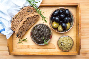 Healthy breakfast with olive products