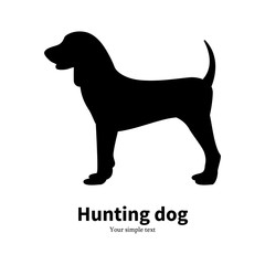 Vector illustration black silhouette hunting dog