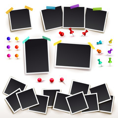 Collection of Square frame template with shadows and push pins. Photo frames horizontal and vertical. Vector illustration EPS 10. Isolated on white background