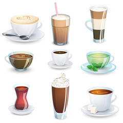 Set of non-alcoholic beverages - tea, herbal tea, hot chocolate, latte, mate, coffee. Vector illustration, isolated on white.