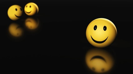 Smiley, smiling balls on a dark background, 3D rendering