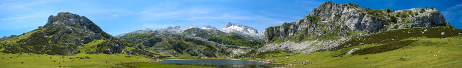 Panoramic photograph of the lakes of Covadonga in Asturias, Spain.