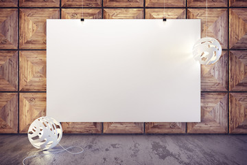 3d render of modern interior mockup in minimalistic style with blank poster on the wall
