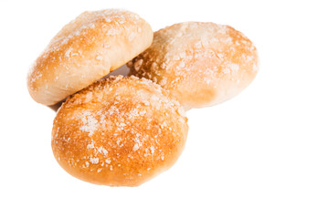 baked round scones for tea, cafe, menu, bread, bakery, white background, isolate