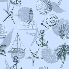 Hand drawn vector illustrations - seamless pattern on the marine theme with seashells, anchor, sailboat. Marine background. Vector template