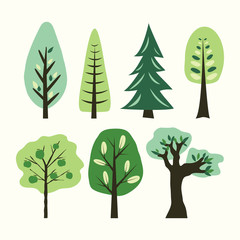 A set of different cartoon trees. Vector