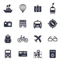 Digital vector black travel icons set with drawn simple line art info graphic poster promo, ship boat camera balloon luggage compass air plane map globe taxi card hotel bicycle free, flat style