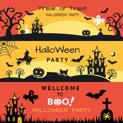Digital vector yellow red black happy halloween icons with drawn simple line art info graphic, presentation with bats, cat and pumpkin elements around promo template, flat style