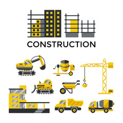 Digital vector yellow construction building tracks icons with drawn simple line art info graphic, presentation with crane, grout, excavator and cement elements around promo template, flat style