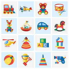 Digital vector blue yellow children toys icons with drawn simple line art info graphic, presentation with bear, plane and bunny elements around promo template, flat