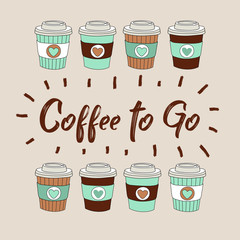 Coffee to go vector illustration with hand drawn coffee cups