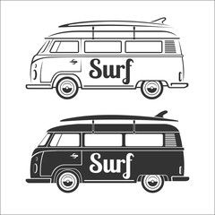 Vintage retro camper van with surfboard. Set of surfer bus silhouettes isolated on white background. Vector illustration