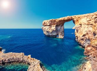 Location place Azure Window, Gozo island, Dwejra. Malta, Europe.