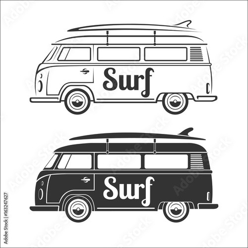 Vintage Retro Camper Van With Surfboard Set Of Surfer Bus Silhouettes Isolated On White Background