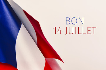 text bon 14 juillet, happy 14 july in French