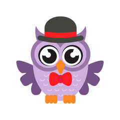 cartoon owl with hat and tie