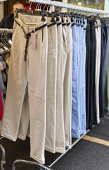 detail of jeans at market