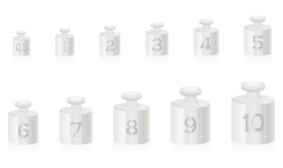 Silvery weight masses for silver scale - set from one to ten, plus a half unit - isolated vector illustration on white background.