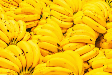 Fresh banana yellow background.